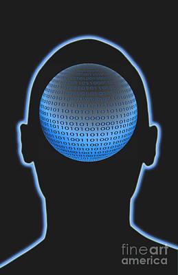 Head With Binary Numbers Art Print