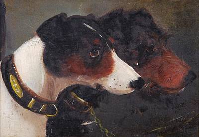Two Wheeler Painting - Heads Of Two Terriers by John Arnold