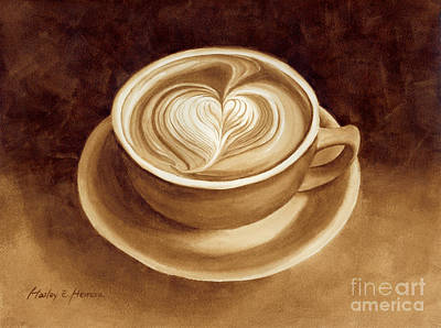 Coffee Painting - Heart Latte II by Hailey E Herrera