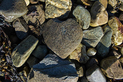 Photograph - Heart Shaped Stone Loch Fyne  by Gary Eason