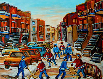 Red Hockey Sweaters Painting - Heat Of The Game by Carole Spandau