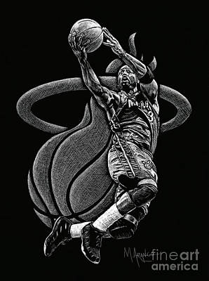 Dwyane Wade Art Drawing - Heat Pride by Maria Arango