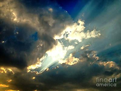 Sun Rays Mixed Media - Heavenly Sky by Krissy Katsimbras