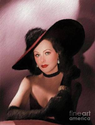 Hedy Lamarr Painting - Hedy Lamarr, Vintage Actress by Mary Bassett