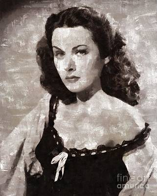 Hedy Lamarr Painting - Hedy Lamarr, Vintage Hollywood Actress by Mary Bassett