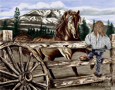 Wagon Wheels Drawing - Hello Girl by Peter Piatt