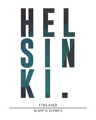 Helsinki, Finland - City Name Typography - Minimalist City Posters Art Print