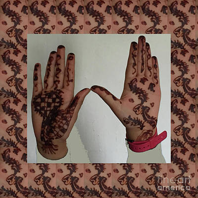 Photograph - Henna Hands Mahendi Tatoos Decorations Posters Pod Gifts Tshirts Pillows Curtains Duvet Phone Bags by Navin Joshi