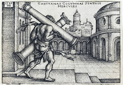 Drawing - Hercules Carrying The Columns Of Gaza by Sebald Beham