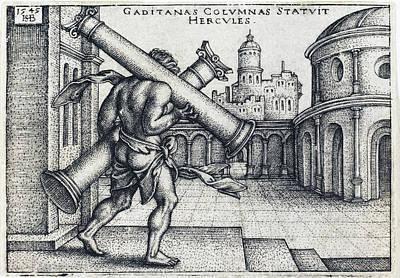 Drawing - Hercules Carrying The Columns Of Gaza by Sebald Beham