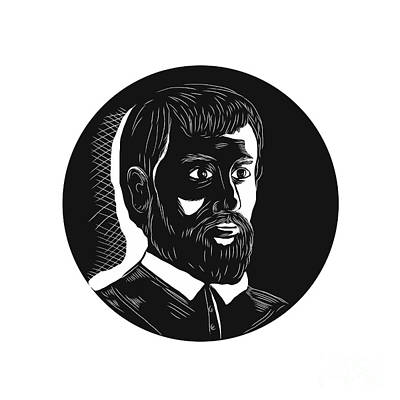 Hernando De Soto Explorer Circle Woodcut Art Print by Aloysius Patrimonio