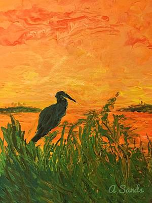 Painting - Heron At Sunset by Anne Sands