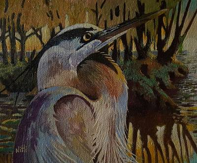 Painting - Heron Morning by NJ Brockman