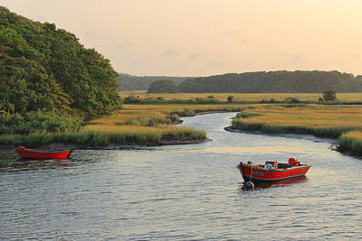 Photograph - Herring River And Red Boats Cape Cod by John Burk