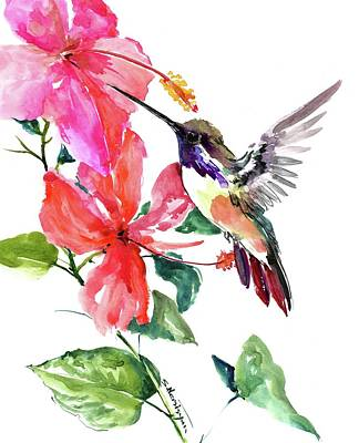 Painting - Hibiscus And Hummingbird by Suren Nersisyan