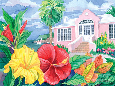 Hibiscus Cottage Art Print