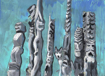 Painting - Hiding With Tikis  by Karen Ferrand Carroll