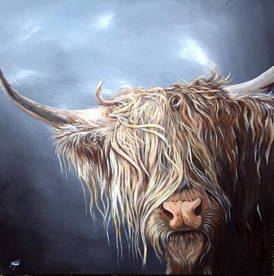 Highland Cow Isle Of Mull Original by Aaron De la Haye