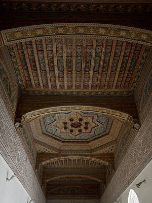 Moroccan Photograph - Highly Decorated Roof Of Palais Bahia by Panoramic Images