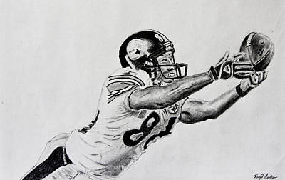 Hines Ward Diving Catch  Art Print by Bryant Luchs