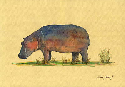 Hippo Watercolor Painting  Original by Juan  Bosco