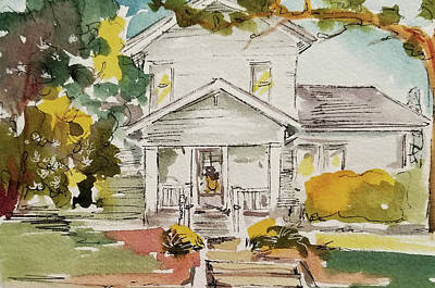 Wall Art - Painting - Historic Home Watercolor Painting by Kim Guthrie