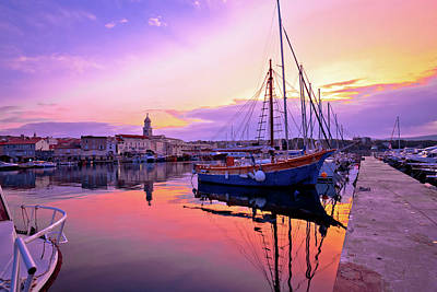 Photograph - Historic Island Town Of Krk Dawn Waterfront View by Brch Photography