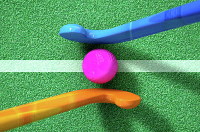 Hockey Stick And Ball Art Print by Allan Swart