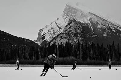 Hockey Under The Mountains Art Print