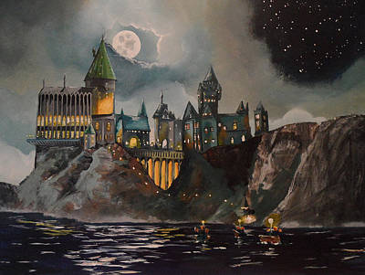 Castle Painting - Hogwart's Castle by Tim Loughner