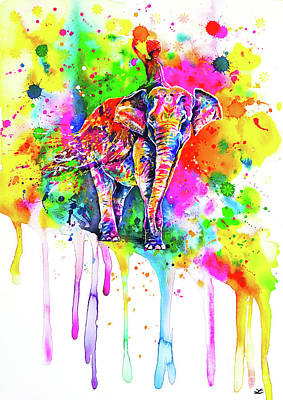 Painting - Holi Decorated Indian Elephant by Zaira Dzhaubaeva