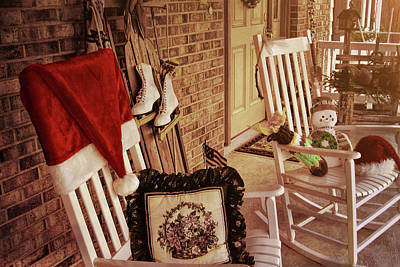Holiday Porch Decorated Art Print by JAMART Photography