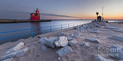 Holland Michigan Photograph - Holland Lighthouse And Channel by Twenty Two North Photography