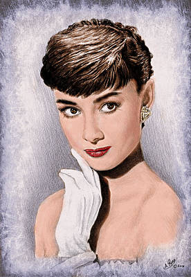 Drawing - Hollywood Greats Hepburn by Andrew Read