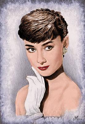 Hollywood Greats Hepburn Art Print by Andrew Read