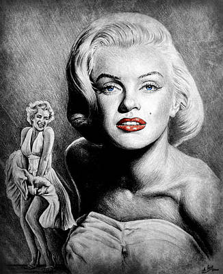 Blonde Bombshell Drawing - Hollywood Greats Marilyn by Andrew Read