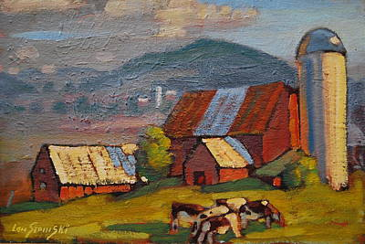 Holstein Heifers Original by Len Stomski