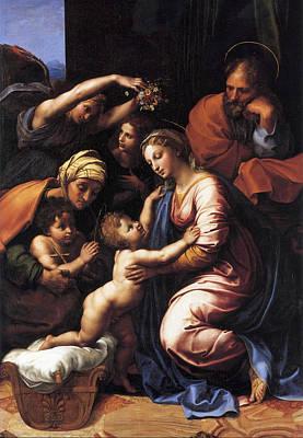 Virgin Mary Painting - Holy Family by Raffaello Sanzio