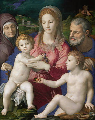 Madonna Painting - Holy Family With St. Anne And The Infant St. John by Bronzino