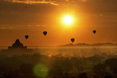 Photograph - Holy Temple And Hot Air Balloons At Sunrise by Pradeep Raja PRINTS