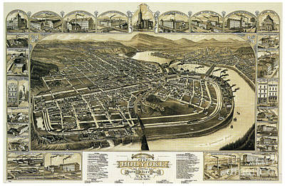 Drawing - Holyoke, Map, 1881.  by Granger
