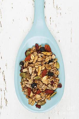 Almond Photograph - Homemade Granola In Spoon by Elena Elisseeva