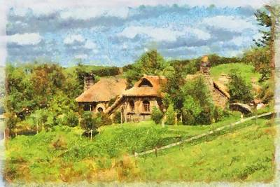 Hobbit Painting - Homes Of The Shire Folk by Sarah Kirk