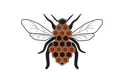 Bee Digital Art - Honeycomb Bee Sans Border by Pelo Blanco Photo