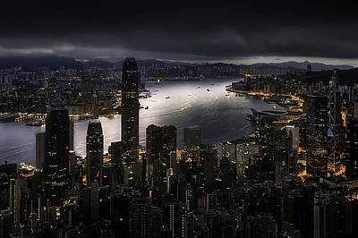 Skyline Digital Art - Hong Kong by Maye Loeser