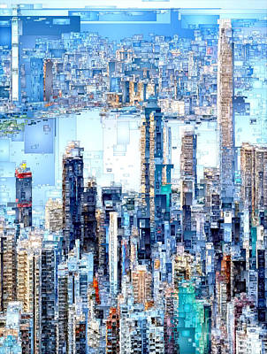 Digital Art - Hong Kong Skyline by Rafael Salazar