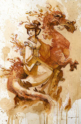 Dragon Painting - Honor And Grace by Brian Kesinger