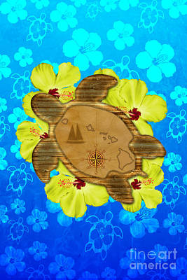 Hawaii Sea Turtle Digital Art - Honu Hawaiian Nautical Map by Chris MacDonald
