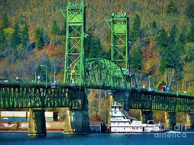 Trussed Painting - Hood River Bridge In Oregon by D S Images