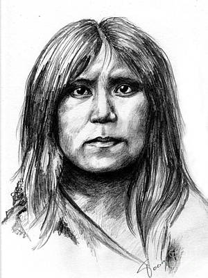 Hopi Drawing - Hopi Girl by Toon De Zwart